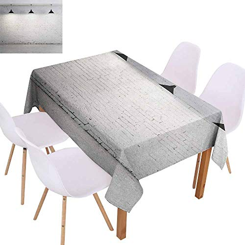 UHOO2018 Abstract,Tablecloths for Kitchen Room,Brickwork Concrete Room with Three Ceiling Lamps Modern Minimalistic Design,for Outdoor and Indoor Use,Black and White,60