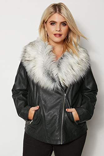 Fur with Collar Pu Plus Women's Size Jacket Faux Leather Black Yours Look Biker 8wvFqPSxS