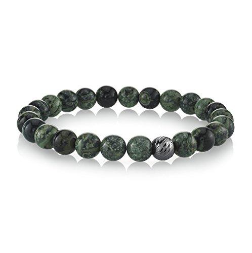 Bracelet Jasper Stretch Beads Round (Spartan Men's Beaded Bracelet with Sterling Silver (Jasper))
