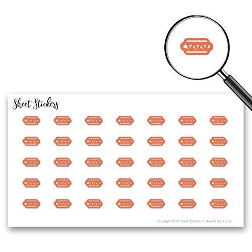 (Hot Dog Hot-Dog Baseball-Food Mustard Sausage Wiener-Sandwich, Sticker Sheet 88 Bullet Stickers for Journal Planner Scrapbooks Bujo and Crafts, Item 955113)