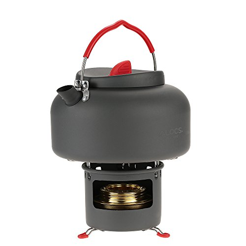 Camping Stove Kettle Set,Portable Alcohol Stove Spirit Burner Cookware Alcohol Stove Water Boiler Pot 1.4L Water Kettle Teapot with Support Bracket for Picnic Hiking Camping Pot Travel Cookware
