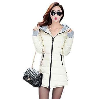 XFentech Women Winter Coat - Ladies Parka Outwear Warm Slim Hooded Down Padded Long Overcoat,Beige, UK 3XL=Tag 4XL