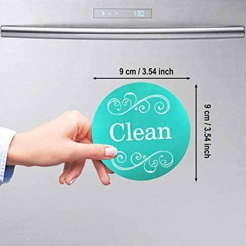 Dishwasher Magnet Clean Dirty Sign Double Sided Magnet Flip with Magnetic Plate Kitchen Dish Washer Reversible Indicator