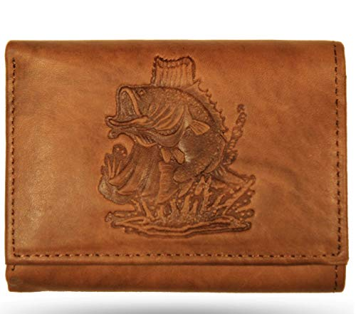 Leather Wallet Bass - Men's All Leather Trifold Bass Wallet