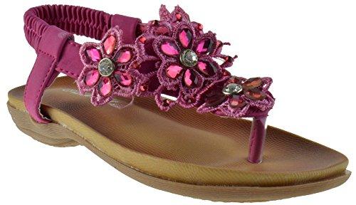 Crab 800KM Little Girls Gladiator Floral Rhinestone Comfort Flat Sandals Fuschia ()