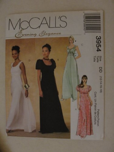 Elegance Pattern (MCCALL'S PATTERN 3954 EVENING ELEGANCE GOWNS WOMEN SIZE 12-18)