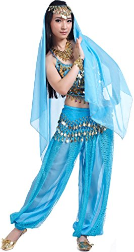 Jasmine Costume for Women Belly Dance Costumes Genie Outfit for Halloween ()