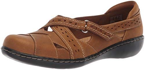 Leather Large Tan (CLARKS Women's Ashland Spin Q Mary Jane Flat, Dark tan Leather, 085 W US)
