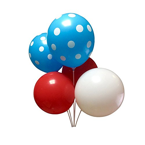 Seven YJ.36pcs theme Latex Balloons for Dr. Suess/Baby Shower/Birthday/Cat Hat Party Supplies Decorations(Red&White&light blue Polka Dot (Party Hat Balloon Weight)