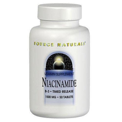 Source Naturals Niacinamide 1500mg Vitamin B-3 Timed Release Energy Support - 50 Tablets