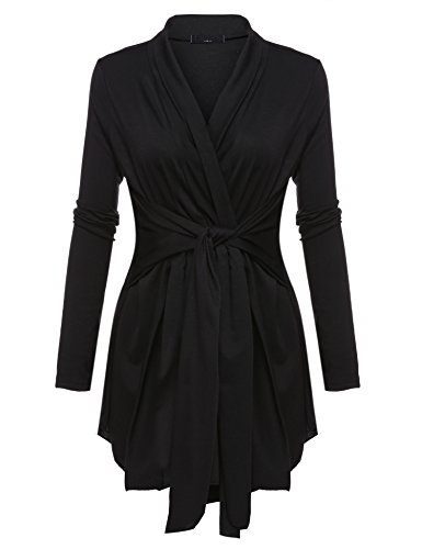 Belted Wrap Sweater - Zeagoo Women Open Front Belted Long Sleeve Basic Soft Knit Cardigan Sweater Black XXXL