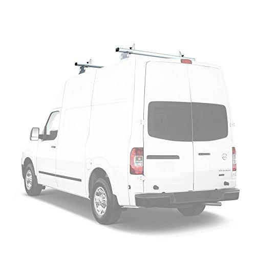 AA-Racks Model AX302-NV Compatible Nissan NV 2012-On Aluminum 2 Bar Van Roof Rack System w/ Ladder Stopper White