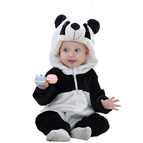 MICHLEY Unisex Baby Romper Winter and Autumn Flannel Jumpsuit Animal Cosplay Outfits Black-80cm