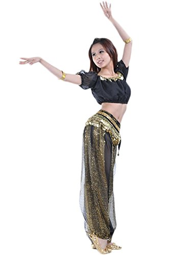 Black Two Piece Dance Costumes - AvaCostume Belly Dance Costume Tribal Top and Sparkling Harem Pants, Black gold, 2 Piece