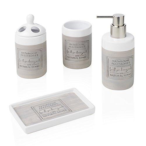 bianco taglia unica Brandani set accessori bagno senso Natural Stone 4/pz in gres