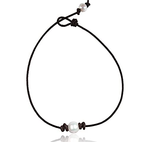 Barch Single Pearl Choker Necklace on Genuine Archaistic Brown Leather Cord for Women Handmade Choker Jewelry Gift (16