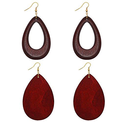 (Wowanoo Natural Wood Earrings Geometric Earrings Wooden Water Drop Earrings for Women Statement Earrings DroRed)