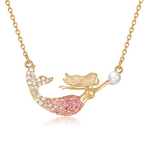KINGSIN Gold Pink Mermaid Pendant Necklace Jewelry for Little Girls Kids Women Christmas Birthday Gift with Bag Crystal Diamond Mermaid Necklace