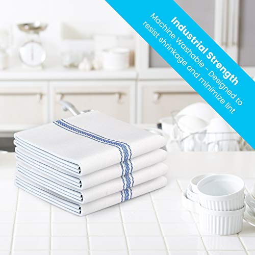 Zeppoli Classic Kitchen Towels 15-Pack – 100% Natural Cotton Dish Towels – Reusable Cleaning Cloths – Super Absorbent…