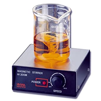 Hanna Instruments HI 200M Stainless Steel Magnetic Mini Stirrer with Speedsafe and Micro Stir Bar, 120mm Length x 120mm Width x 45mm Height, 100 - 1000rpm, 115/240 VAC, 0 to 50 Degree C