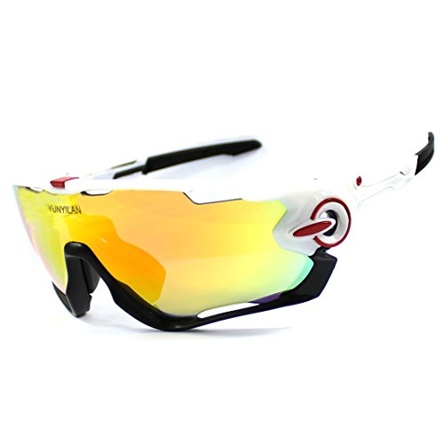 YUNYILAN 2018 Cycling Sunglasses polarized Mens Sport Glasses 3 Lens Cycling Glasses Bicycle Glasses Eyewear (White Black)