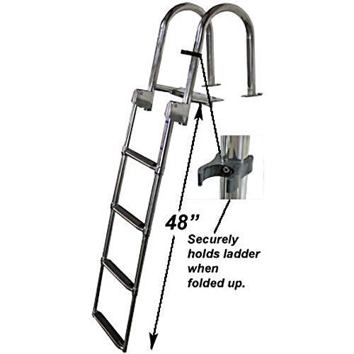 RecPro Marine 4 Step Heavy Duty OEM Grade Rear Entry Pontoon Boat Ladder W/HANDRAILS 316 Stainless Steel TELESCOPING Dock Ladder SSL-UFSL ()