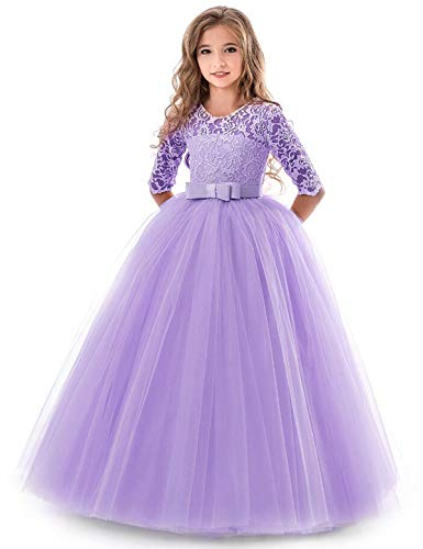 TTYAOVO Girls EmbroidePurple Prom Gowns Luxury Wedding Birthday Party Princess Long Dresses Size(130) 7-8 Years -
