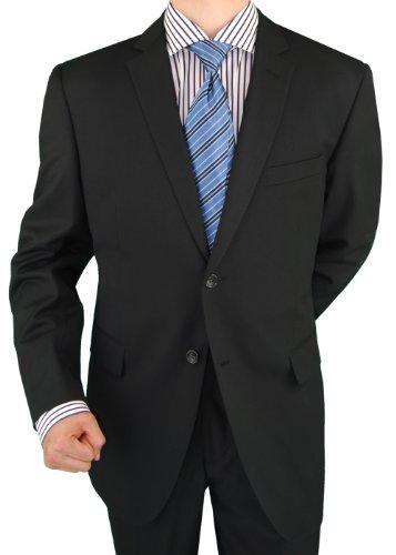 Marzzotti Men's Suit Abi Milan 2 Piece Two Button Jacket Flat Front Pants New Black (44 ()