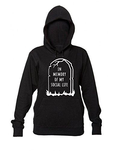 Women's Donna Memory Hooded My Felpa Of Design Social Cappuccio Sweatshirt Gravestone Da In Con Life 7PBSwSx