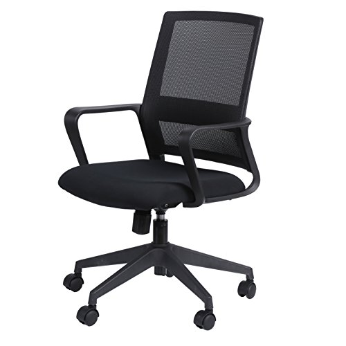 KELLIGO Home Office Task Mesh Chair Adjustable Mid-back Chair Swivel With 2 Arms BLACK by KELLIGO