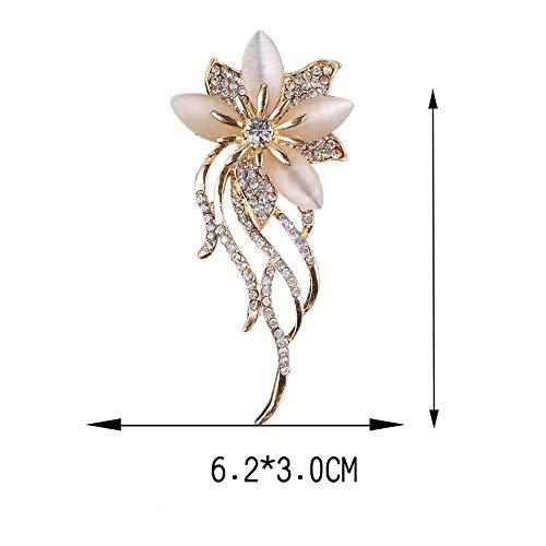 Elegant Wedding Gold Acrylic Rhinestone Crystal Stone Brooch Pin Flower Opal
