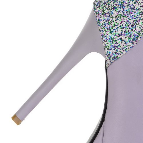 VogueZone009 Womens Closed Round Toe High Heel Stiletto Platform Soft Material PU Solid Pumps with Sequin, Purple, 3.5 UK