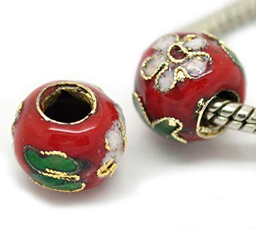 Unique Fashion Charms and Bracelets 2PCS Cloisonne Red Pink Green Flowers Metal Beads for European Charm Bracelets