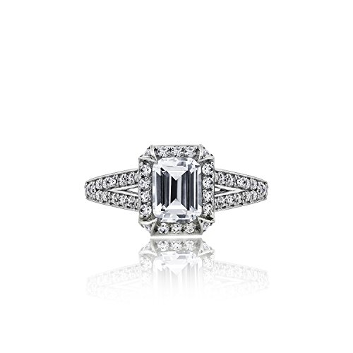 Diamonbliss Sterling Silver Cubic Zirconia Emerald Cut Halo Ring with Split Shank, Size 8