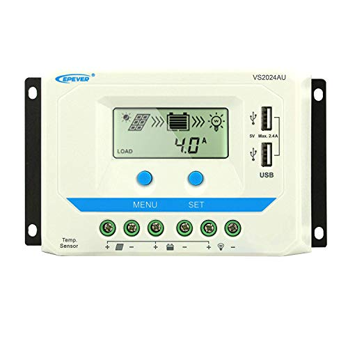 EPEVER 20A Solar Charge Controller 12V/24V Auto, Solar Charge Regulator 20 amp Max Input 240W/12V, 480W/24V with LCD Display and Dual USB 5V Output, for Lead-Acid Gel Sealed Flooded - Usb 480w