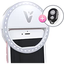 Veemoh Camera Diva Ring Light LED Selfie Cell Phone Lighting for Photography iPhone Samsung Galaxy HTC Nokia Nexus LG - Comes with Wireless Remote for Easy Selfies and Group Shots!