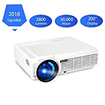PRAVETTE Projector, 3800 Lumens Full HD Video Projector with 200 Projection Size, Multimedia Portable Projector Support 1080P HDMI VGA AV USB with Free HDMI Cable for Home Theater, Office, Classroom LED Outdoor