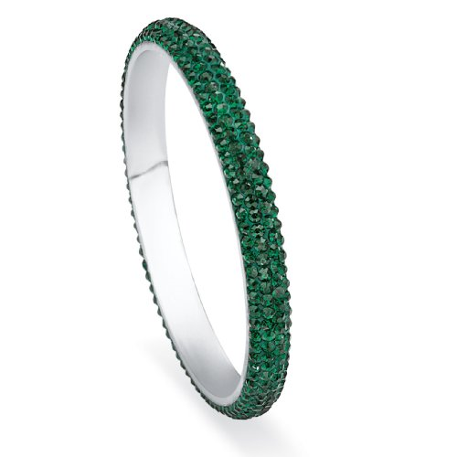 Palm Beach Jewelry Green Pave Simulated Crystal Bangle Bracelet in Stainless Steel
