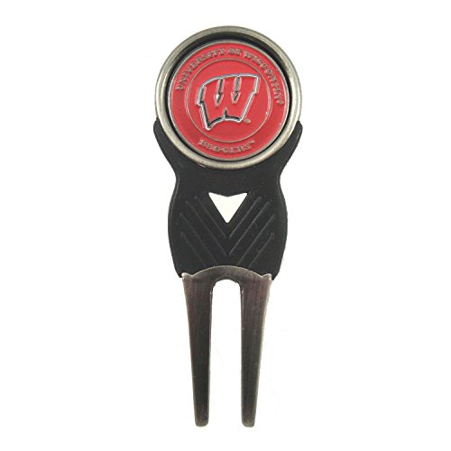 Wisconsin Badgers Divot Tool with Double Sided Logo Golf Ball Marker
