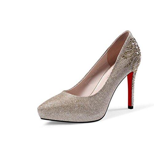 Sandals CJC High-Heeled Baotou High Heels Thin High Heels Stiletto Heels Elegant Sexy Fashion Personality Gold