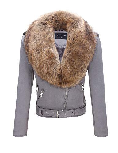 (Bellivera Women's Faux Suede Short Jacket, Moto Jacket with Detachable Faux Fur Collar)