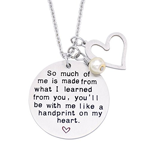 O.RIYA Graduation Gift, Teacher Necklace,Christmas Gifts for Teacher, Gift from Student, Teacher Gift, Personalized Teacher (Thank You For Helping Me Grow)
