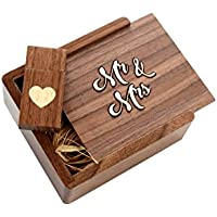 Wooden Walnut 2.0 USB Flash Drive - Heart Veneer Inlaid - Inserted into a Engraved Matching Box with Raffia grass inside. Mr & Mrs Design! (16GB)