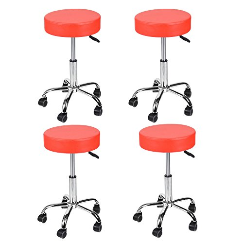 Foam Stool Set - Home Office Swivel Stool Chair Medical Care Message Task Round Foam Cushion Faux Leather 5 Casters Set of 4(Red 2)