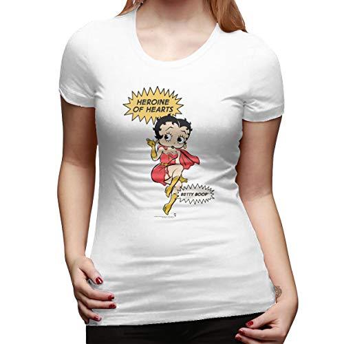 Thno Women's Superwoman Hearts Betty Boop Cartoon T Shirts White -