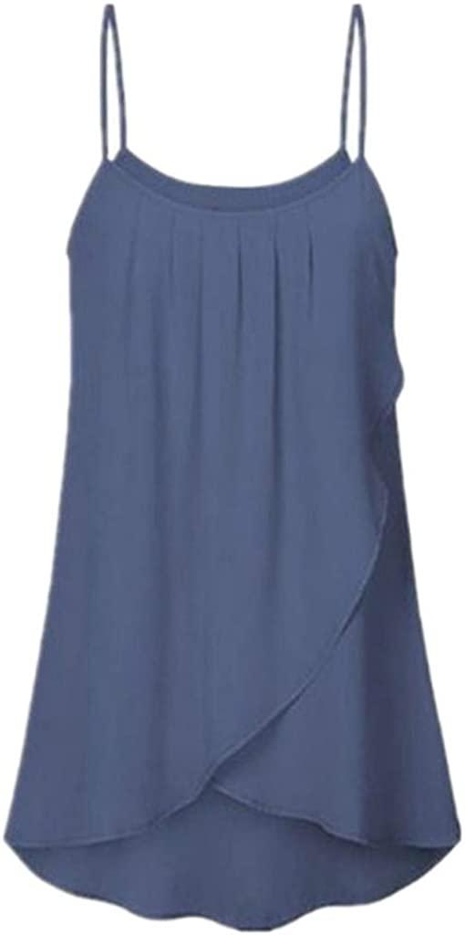 Womens Top Vest Fashion Plus Size Tops Casual Solid Color Top Vest Sleeveless Chiffon Flowy Tank Tops Camis