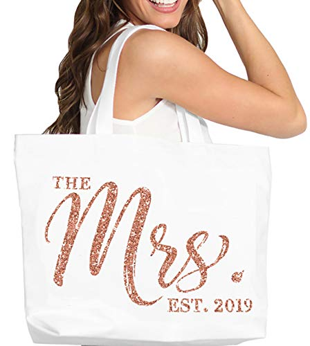 - Rose Gold Bridal Tote Bag - Giant The Mrs. Est. 2019 Rose Gold Glitter CHIC Cotton Canvas Tote Bag - Bride To Be Gift - White Tote(Chic 2019 RsG) Wht