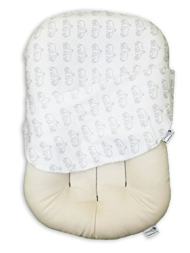 Snuggle Me Organic Infant Padded Lounger with Center Sling for Newborn to 6 Months with Organic Cotton Cover, Dreams on Parade by Snuggle Me