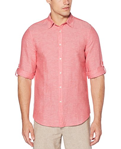 Perry Ellis Men's Rolled-Sleeve Solid Linen Cotton Button-Up Shirt, Mineral Red-44SW9067, Extra Extra Large