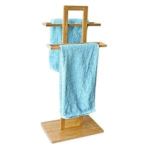 Toallero de pie soporte toalla de bambú